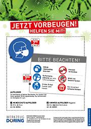 Flyer Aufkleber Mundschutz und Hinweis
